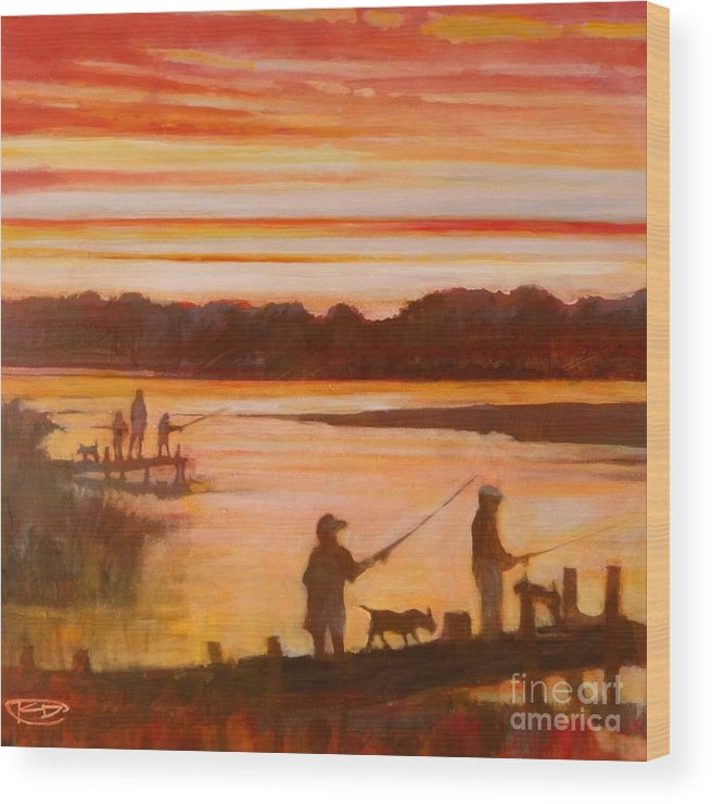 Fishing Wood Print featuring the painting Time To Go Home by Kip Decker