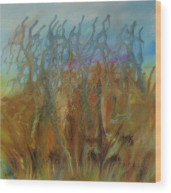 Contemporary Sea Wood Print featuring the painting Tresors Des Mers by Annie Rioux