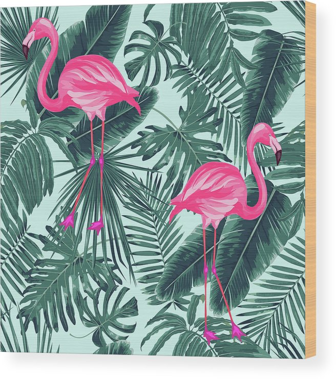 Summer Wood Print featuring the photograph Tropical Pink Flamingo by Mark Ashkenazi