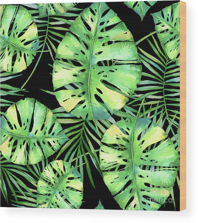 Monstera Wood Print featuring the painting Tropics Noir, Tropical Monstera And Palm Leaves At Night by Tina Lavoie