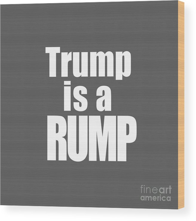 Trump Wood Print featuring the photograph Trump Is A Rump Tee by Edward Fielding