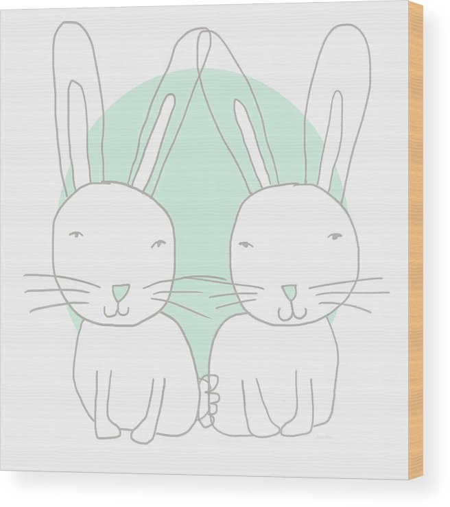 Bunny Wood Print featuring the mixed media Two Bunnies- Art By Linda Woods by Linda Woods