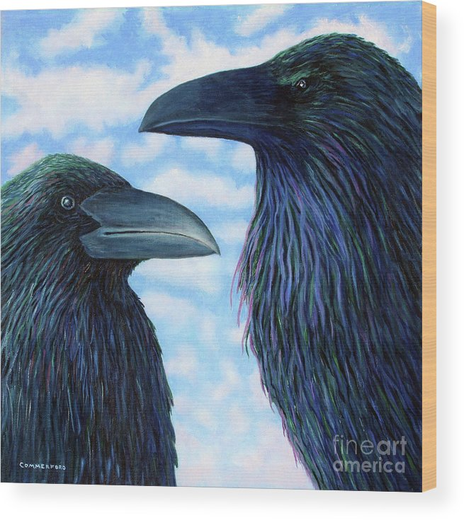 Raven Wood Print featuring the painting Two Ravens by Brian Commerford