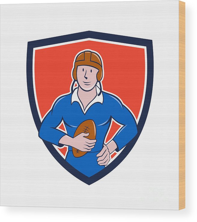 Vintage Rugby Player Wood Print featuring the digital art Vintage French Rugby Player Holding Ball Crest Cartoon by Aloysius Patrimonio