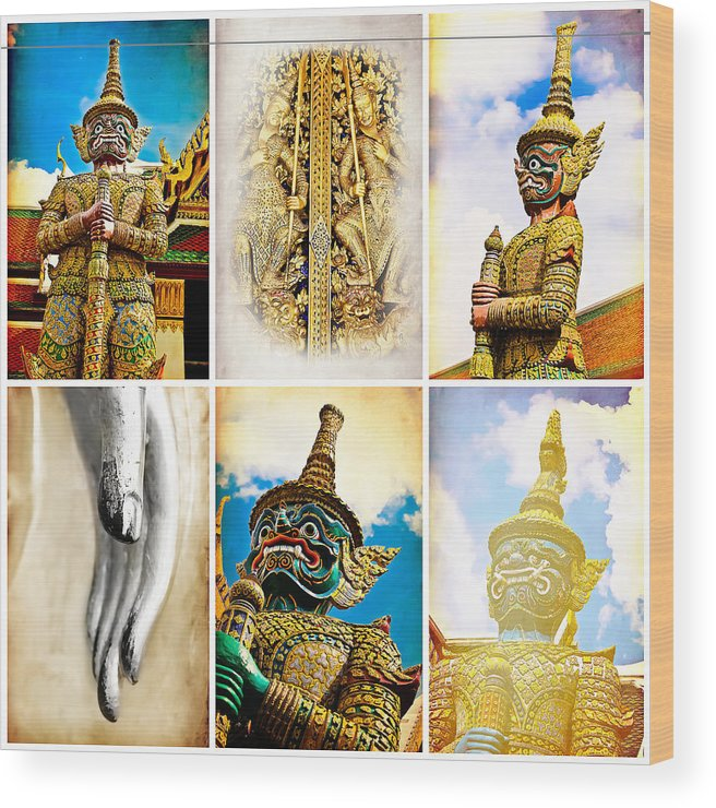 Temple Wood Print featuring the photograph vintage Thai art style by Prasert Chiangsakul