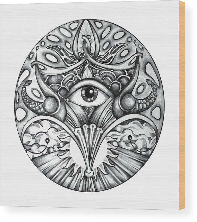 Eye Wood Print featuring the drawing Vision by Shadia Derbyshire