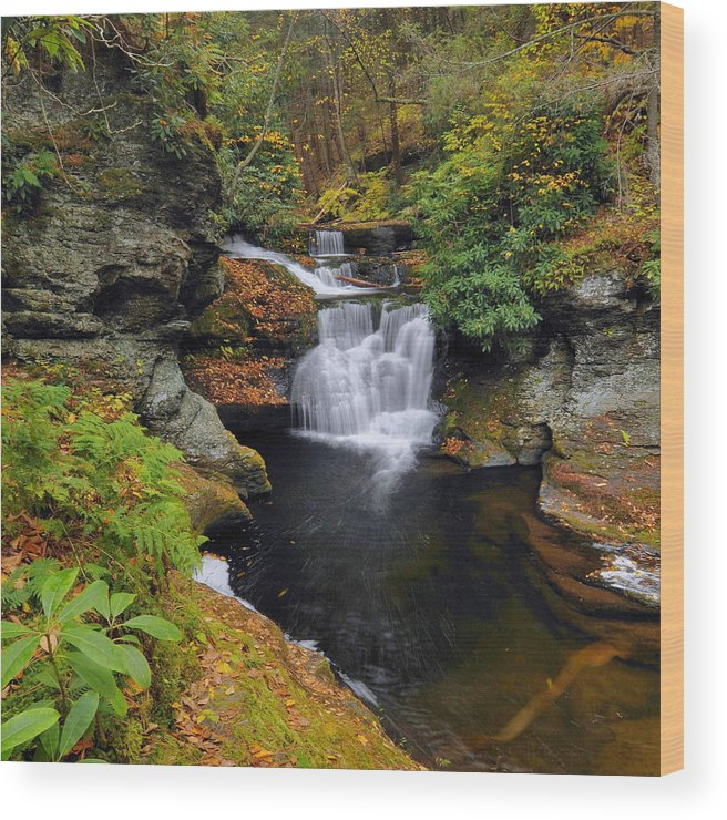 Waterfall Wood Print featuring the photograph Waterfall In Autumn by Stephen Vecchiotti