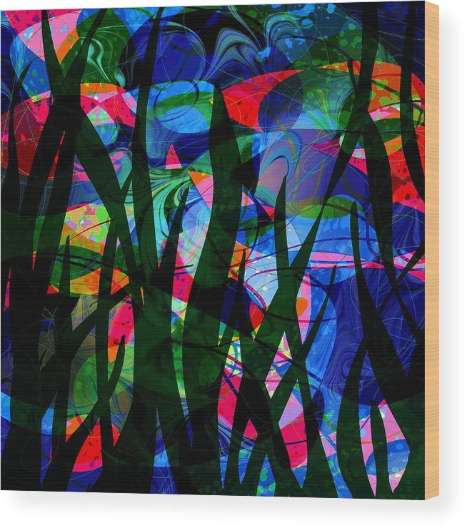 Abstract Wood Print featuring the digital art Watermelon And A Swim by Rachel Christine Nowicki