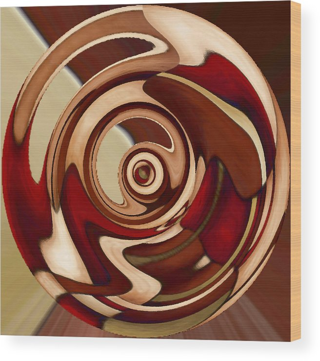 Red Wood Print featuring the painting Wheel 4 by Vicky Brago-Mitchell