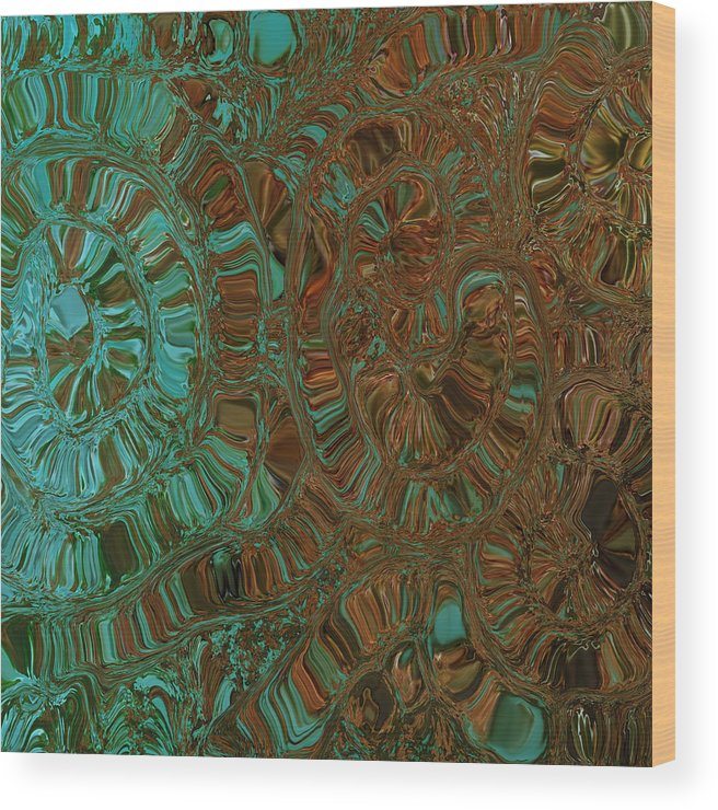 Abstract Art Wood Print featuring the digital art Wheels Of Time by Bonnie Bruno