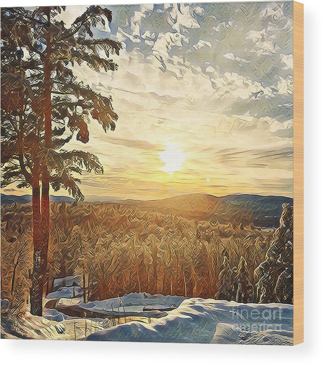 Winter Wood Print featuring the photograph Winter Sunset Over The Mountains by Christine Segalas