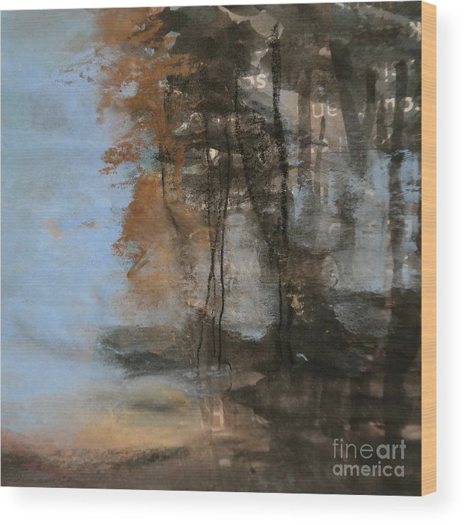 Landscape Wood Print featuring the mixed media Woodlands At The Lake by Pusita Gibbs
