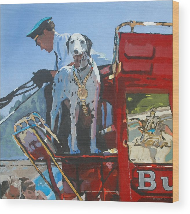 Dog Wood Print featuring the painting Working Dog by Robert Bissett