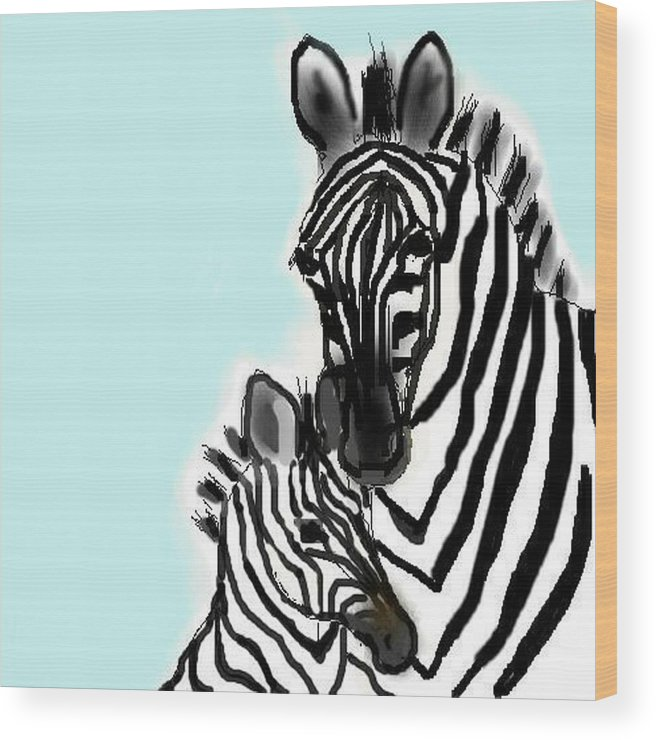 Animals Wood Print featuring the digital art Zebras by Carole Boyd