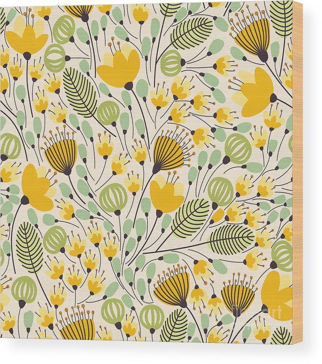 Curl Wood Print featuring the digital art Elegant Seamless Pattern With Yellow by Maria galybina