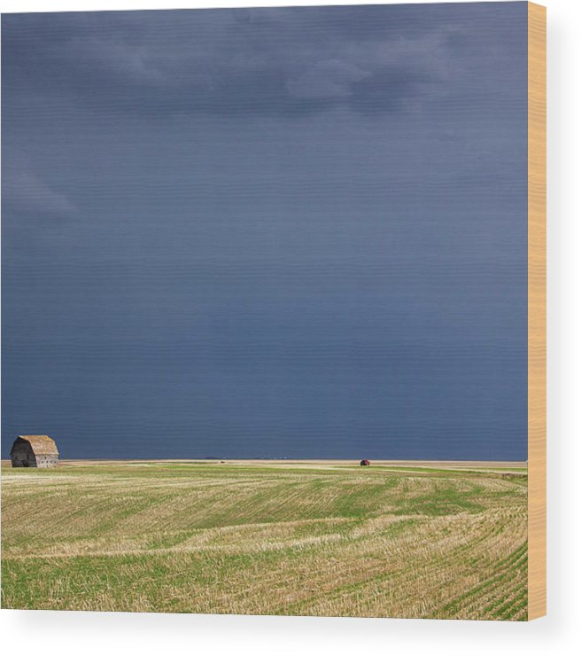 Sky Wood Print featuring the photograph Prairie Storm Clouds by Mark Duffy