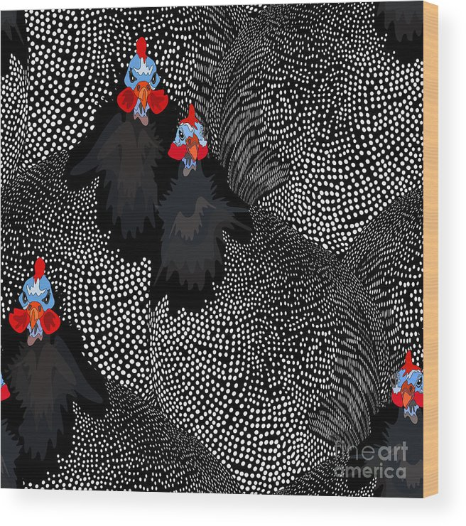 Template Wood Print featuring the digital art Abstract Illustration Of Two Rooster by Viktoriya Pa