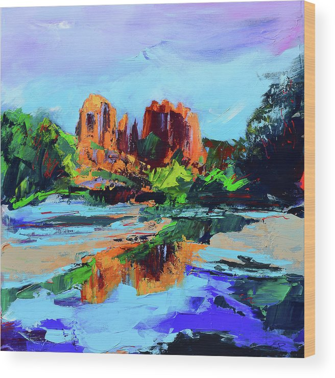 Sedona Wood Print featuring the painting Cathedral Rock - Sedona - Square Version by Elise Palmigiani