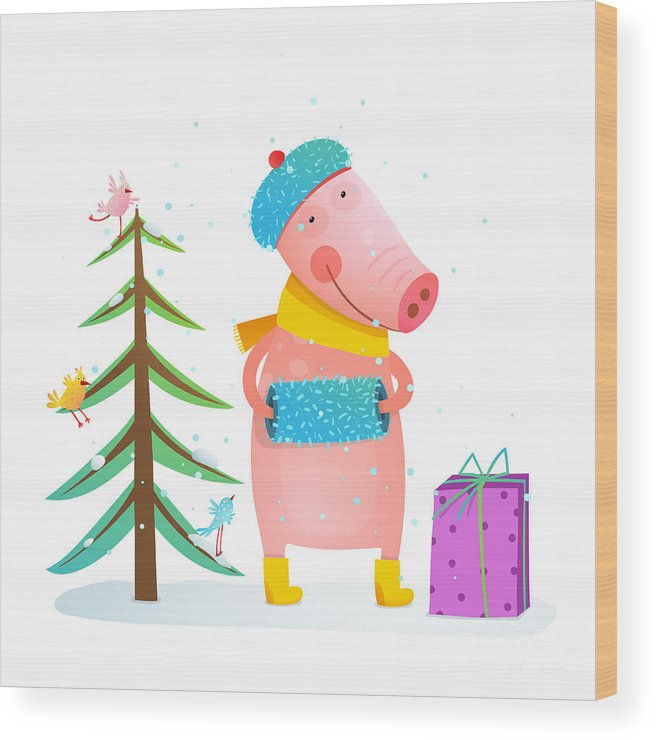 Gift Wood Print featuring the digital art Childish Cheerful Little Pig In Winter by Popmarleo