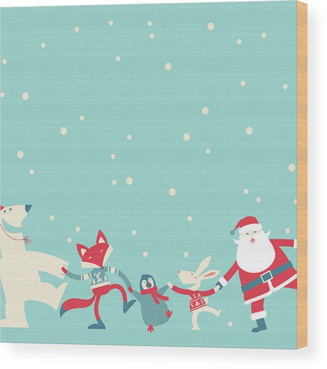 Holiday Wood Print featuring the photograph Christmas Dancing by Akindo