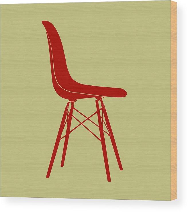 Mid-century Wood Print featuring the digital art Eames Plastic Side Chair II by Naxart Studio