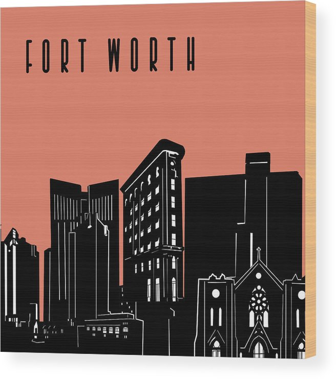 Fort Worth Wood Print featuring the digital art Fort Worth Skyline Panorama Red by Bekim Art