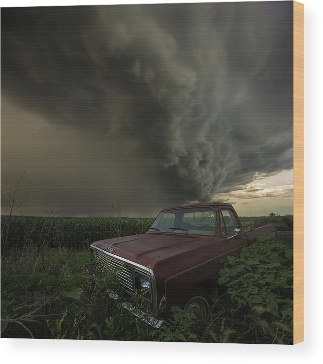 Severe Wood Print featuring the photograph Get Outta Dodge by Aaron J Groen