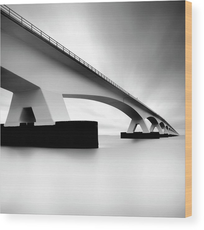 Long Wood Print featuring the photograph Netherlands, Zeeland, Zeelandbridge by Kees Smans