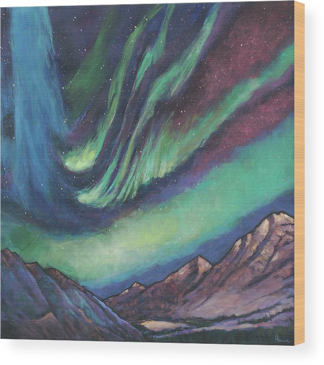 Northern Lights Wood Print featuring the painting North By Northwest by Johnathan Harris