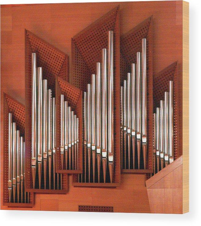 Orange Color Wood Print featuring the photograph Organ Of Bilbao Jauregia Euskalduna by Juanluisgx