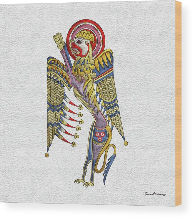 'celtic Treasures' Collection By Serge Averbukh Wood Print featuring the digital art Sacred Celtic Lion Over White Leather by Serge Averbukh