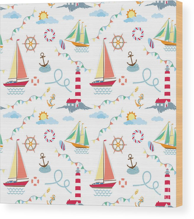 Lifebuoy Wood Print featuring the digital art Seamless Marine Pattern With Ships by Julia kondakov