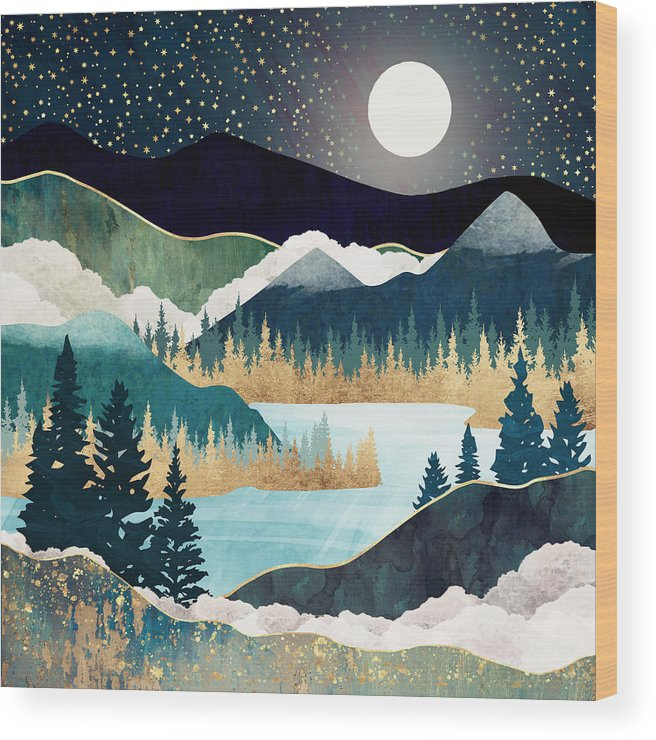 Stars Wood Print featuring the digital art Star Lake by Spacefrog Designs