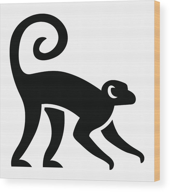8340c8f44 Tropical Rainforest Wood Print featuring the digital art Stylized Monkey  Illustration Isolated by Aratehortua
