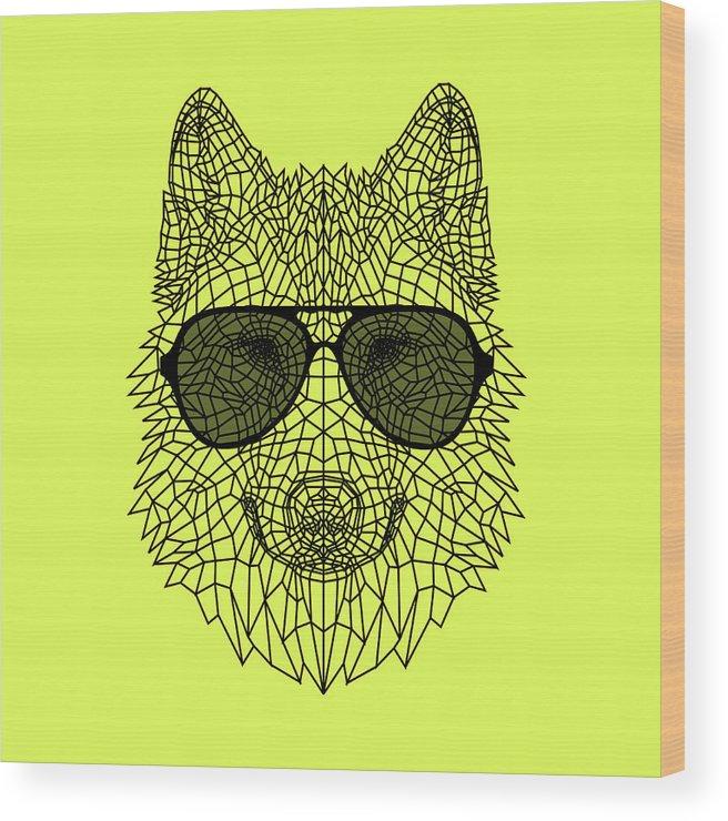 Wolf Wood Print featuring the digital art Woolf In Black Glasses by Naxart Studio