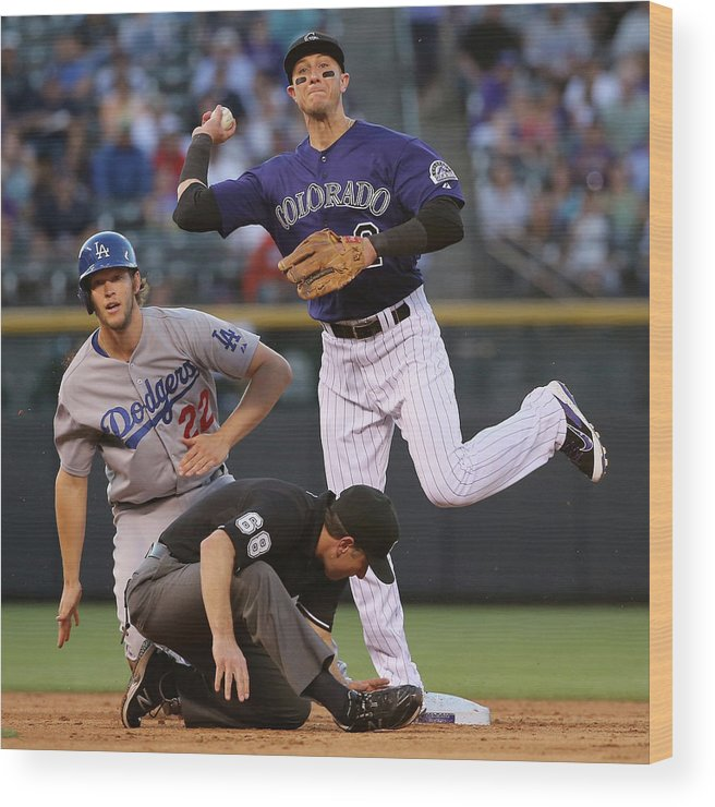 People Wood Print featuring the photograph Clayton Kershaw, Troy Tulowitzki, And Joc Pederson by Doug Pensinger