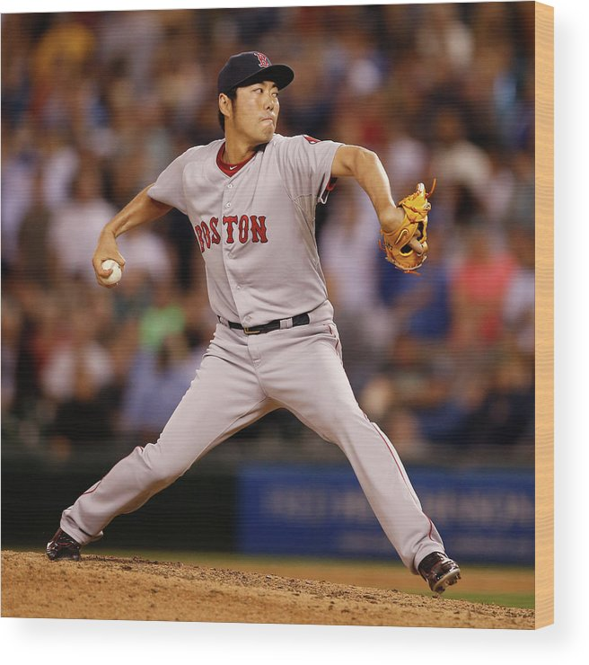 Ninth Inning Wood Print featuring the photograph Koji Uehara by Otto Greule Jr
