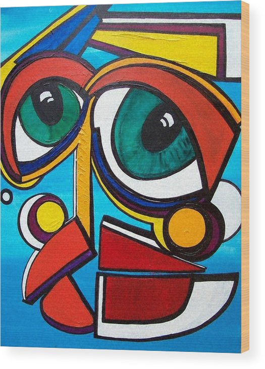 Abstract Wood Print featuring the painting She by Valerie Wolf