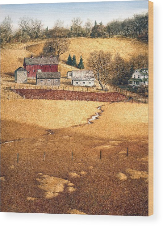 Landscape Wood Print featuring the painting Blackshear Hollow by Tom Wooldridge