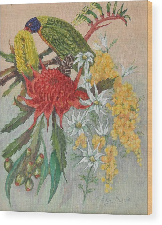 Bird Portraits Wood Print featuring the painting Lorikeet And Wildflowers by Aileen McLeod