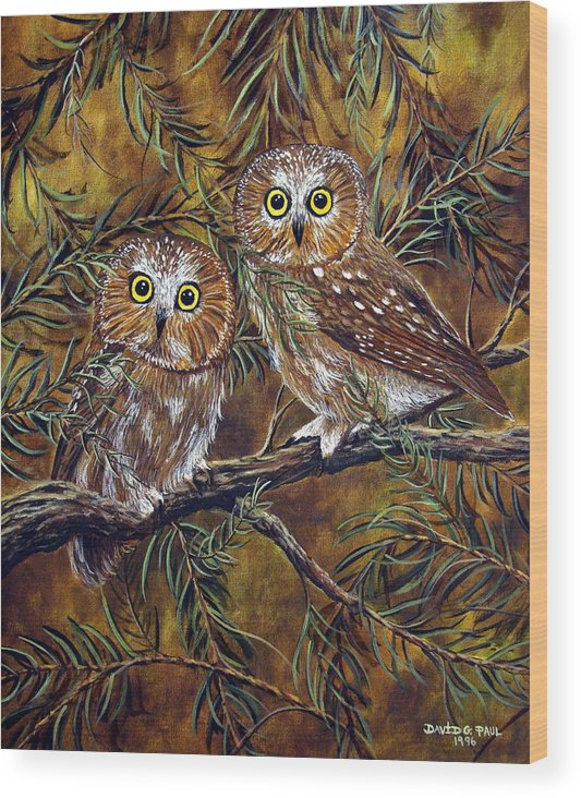 Owls Wood Print featuring the painting Branch Buddies by David G Paul