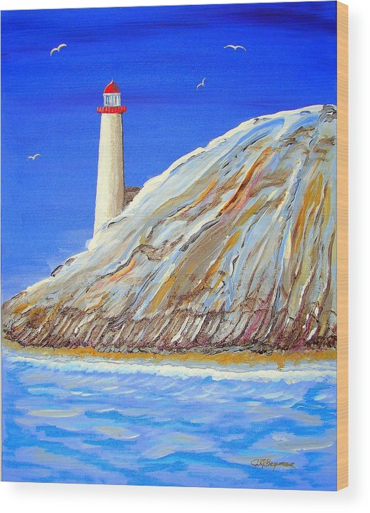 Lighthouse Wood Print featuring the painting Entering The Harbor by J R Seymour