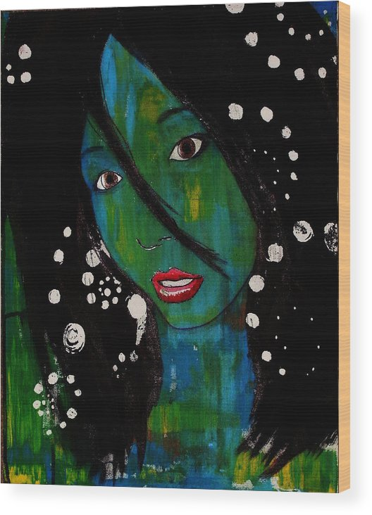 Girl Wood Print featuring the painting Girl 8 by Josean Rivera