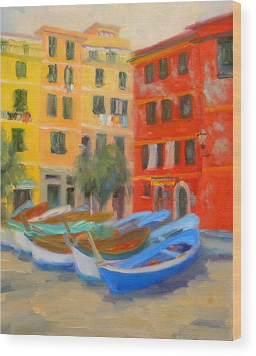 Italy Wood Print featuring the painting Vernazza Fleet by Bunny Oliver