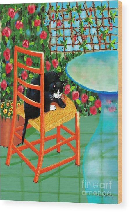 Key Words Black Cat Wood Print featuring the digital art Black Cat by Dessie Durham