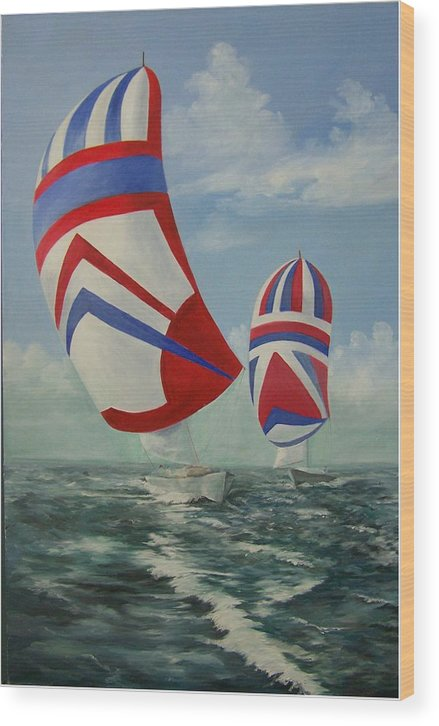 Sailing Ships Wood Print featuring the painting Flying The Colors by Wanda Dansereau
