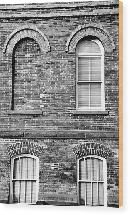 Architecture Wood Print featuring the photograph 3 Quaters Black And White by Caroline Clark
