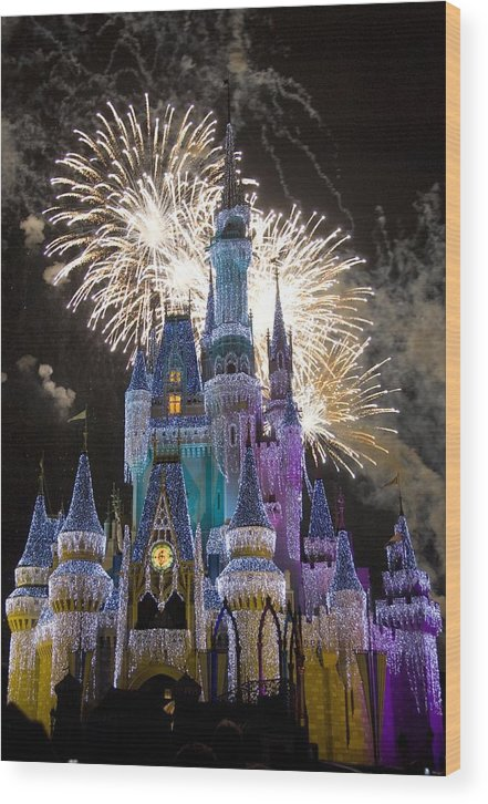 Cinderella Castle Wood Print featuring the photograph Cinderella Castle Spectacular by Charles Ridgway