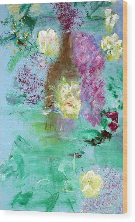 Abstract Wood Print featuring the painting Floral Reflections by Michela Akers