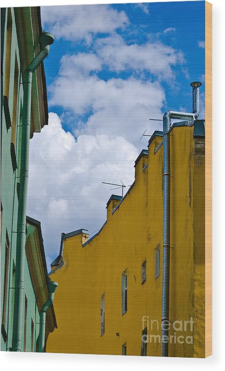 Yellow Wood Print featuring the photograph Has Opened Eyes And Has Looked In The City Sky... by Vadim Grabbe